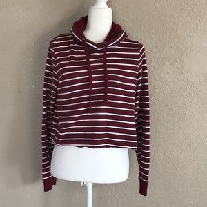 Hollister Co. Striped Cropped Hoodie